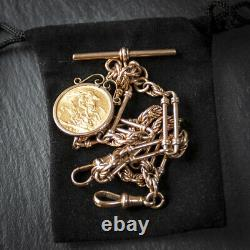 Solid 9ct Gold Trombone Link Albert Chain with 22ct 1911 Full Sovereign