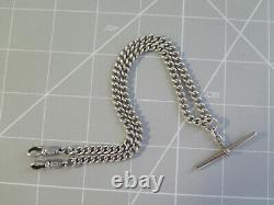 Solid Silver Double Albert Pocket Watch Chain 37cm hallmarked every link