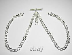 Solid Sterling Silver Pocket Watch Double Curb Albert Chain Fob. 925 FA47