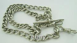 Sterling Silver Double Albert Pocket Watch Chain H/Mkd Chester 1921 35.6 Grams