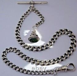 Stunning antique solid silver pocket watch albert chain & bloodstone fob seal