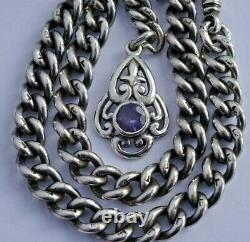 Stunning antique solid silver pocket watch albert chain with silver & amethyst fob