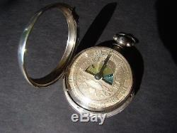 Sun and Moon Silver Verge Fusee Pocket Watch with Chatelaine chain