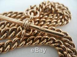 Superb 9ct Solid Rose Gold 18 1/4 Inch Long Double Albert Watch Chain 38.5 grams