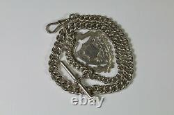 Superb Antique Chunky Solid Silver Single Albert Pocket Watch Chain With Fob