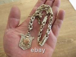 Superb Antique Solid Sterling Silver Single Albert Pocket Watch Chain & Fob