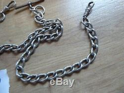 Superb Antique Sterling Silver Double Albert Pocket Watch Chain