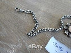 Superb Antique Sterling Silver Double Albert Pocket Watch Chain & Fobs