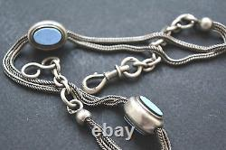Superb Antique Sterling Silver Pocket Watch Chain With Enamel
