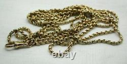 Superb Quality Heavy Antique 9 Carat Gold Watch Guard / Muff Chain 56 Inches