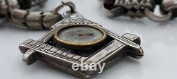 Superb antique silver Masonic decorative pocket watch chain and compass fob