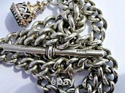 Superb antique solid silver double pocket watch albert chain & gem set fob seal