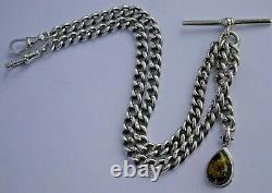 Superb antique solid silver double pocket watch albert chain, silver & amber fob
