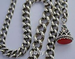 Superb antique solid silver pocket watch albert chain and carnelian fob seal