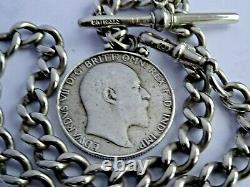Superb antique solid silver pocket watch albert chain & silver 1902 florin fob