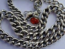 Superb antique solid silver pocket watch albert chain with silver & amber lion fob