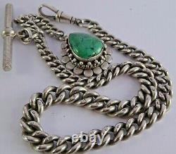 Superb antique solid silver pocket watch albert chain with silver & turquoise fob