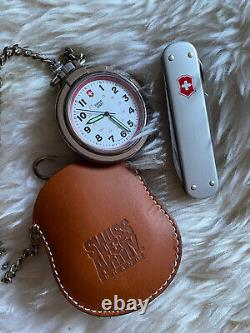 Swiss Army Stainless Steel Pocket Watch with Chain & Leather Pouch/ Pocket Knife