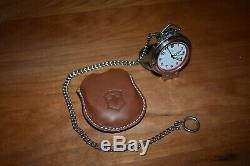 Swiss Army Victorinox Alarm Pocket Watch Model # 24720 withChain & Leather Pouch