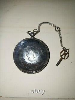 Turkish Ottoman Empire POCKET WATCH Hunter Pocket Watch with old chain and key