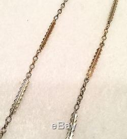 Unusual 19th c. 14k Yellow & White Gold 14 Pocket Watch Chain 8.2 Grams