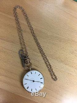 VACHERON Constantin Antique Pocket watch 18kt GOLD Cylindre 8 Rubis with CHAIN KEY