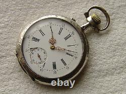 VERY RARE LeCoultre POCKET WATCH perfect condition c1900 with chain, wooden box