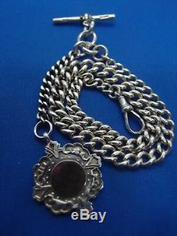 VICTORIAN 1891 SILVER ALBERT POCKET WATCH CHAIN FAB WHH 9ct GOLD FRONT FOB 47g