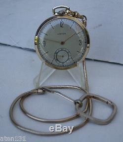 Vintage 1950 Longines 17j Pocket Watch Solid 14k Gold With Chain