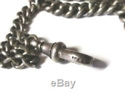 Very Nice Sterling Silver Albert pocket watch chain and Fob! Fully Hallmarked