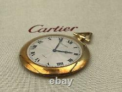 Very Rare Vintage 1940s Cartier Paris 18K Gold Pocket Watch & Chain Fob in Box