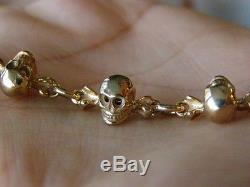 Very rare antique doctor's 14k solid gold chain fob for a pocket watch. 10 skulls