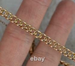 Victorian 9ct Rose Gold Curb Link Pocket Watch Chain 7 Long Bracelet