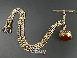 Victorian Antique 9 Ct Rose Gold Double Clip Pocket Watch Albert Chain & Fob