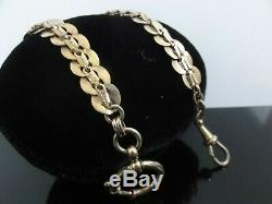 Victorian Antique Beautiful Ornate Pocket Watch Chain Heavy Gold Filled Signed