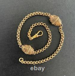 Victorian Etruscan Revival 14K Gold Pocket Watch Fob Chain, Layering Necklace