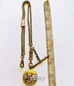 Victorian Gold Fill Pocket Watch Chain and Locket. Hunting dog motif