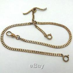 Victorian Gold Filled Cuban Curb Link Bar Pocket Watch Chain