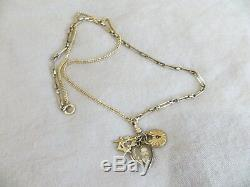 Victorian Pink Gold F. Pocket Watch Chain Necklace Crystal glass locket/charms