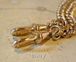 Victorian Pocket Watch Chain 1890s Antique 12ct Rose Rolled Gold Albert & T Bar