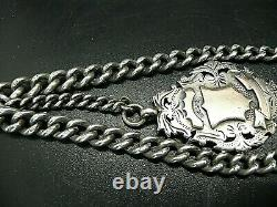 Victorian Silver Double Albert pocket watch chain with Large Fob