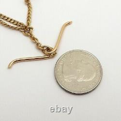 Victorian Solid 14k Gold Cuban Curb Double Pocket Watch Chain T Bar Heavy 19gr