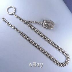 Victorian Sterling Silver Pocket Watch Chain Locket Fob Pendant / Antique