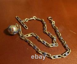 Victorian Vintage Rolled Gold Enamel 2 Links Pocket Watch Chain withFob! Not Scrap