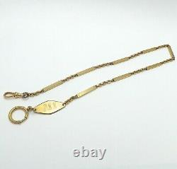 Vintage 12K Gold Filled Cable Bar Link Engraved Tag Pocket Watch Chain 18 inch