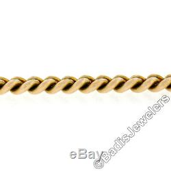Vintage 14K Yellow Gold 10 Heavy Cuban Curb Link Dual Clasp Pocket Watch Chain