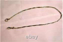 Vintage 14K Yellow Gold 14 Gr, 15 Long Pocket Watch Double Link FOB Chain