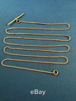 Vintage 14K Yellow Gold Pocket Watch 37 Chain With T Bar Fob 11.7g