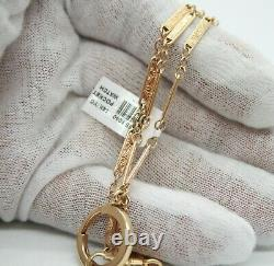 Vintage 14k Yellow Gold Carved Link Chain For Pocket Watch. 24.5 Long