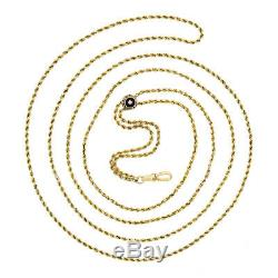 Vintage 14k Yellow Gold Long Double Rope Link Vest Pocket Watch Chain Necklace